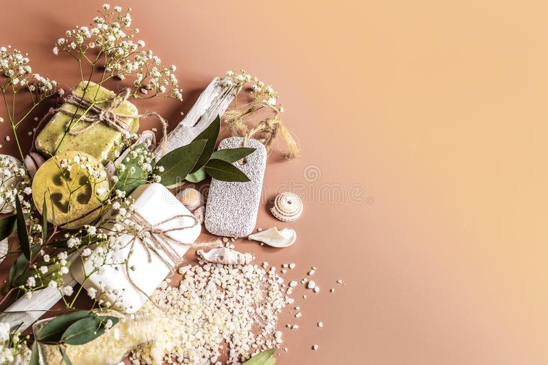 Spa or health plan frame with towels, soap, leaves, flowers, bath bombs. And body and face accessories on colored background, see above. Place for text royalty free stock photos