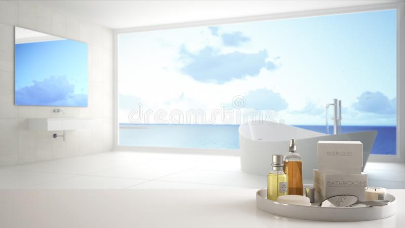 Spa, hotel bathroom concept. White table top or shelf with bathing accessories, toiletries, over blurred panoramic minimalist bath royalty free illustration