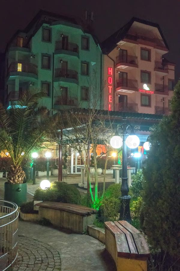 Spa hotel in the center of old Pomorie in Bulgaria royalty free stock image