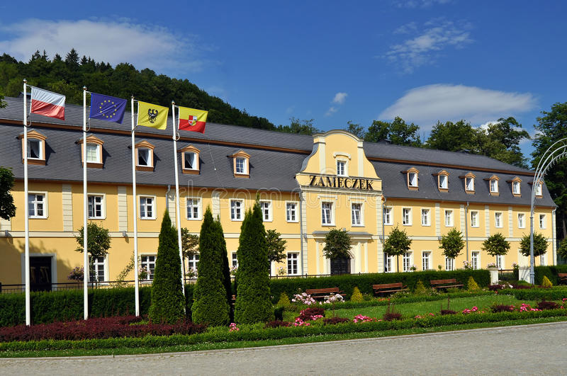 Spa Hotel in Poland. KUDOWA ZDROJ, POLAND - 5 JULY, 2010: Picture of sanatorium Polonia in Polish spa town Kudowa Zdroj on July 5, 2010. Kudowa Zdroj is one of royalty free stock photos
