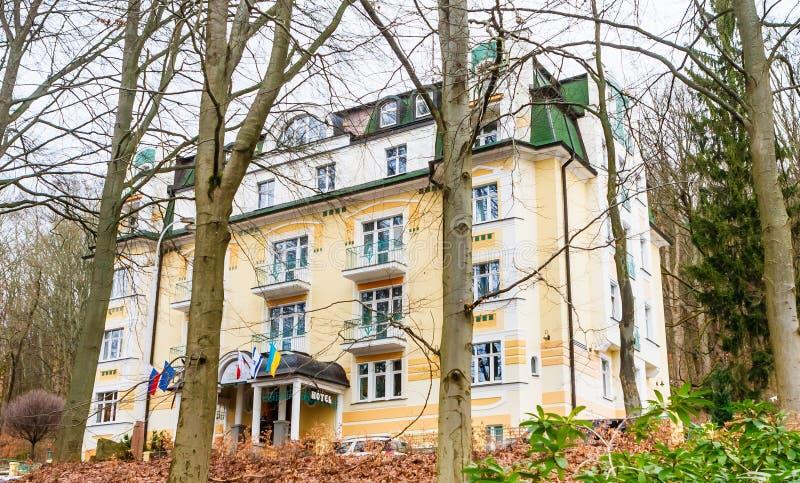 Spa Hotel Villa Savoy. Spa center of small west Bohemian town M. Arianske Lazne Marienbad - Czech Republic royalty free stock image