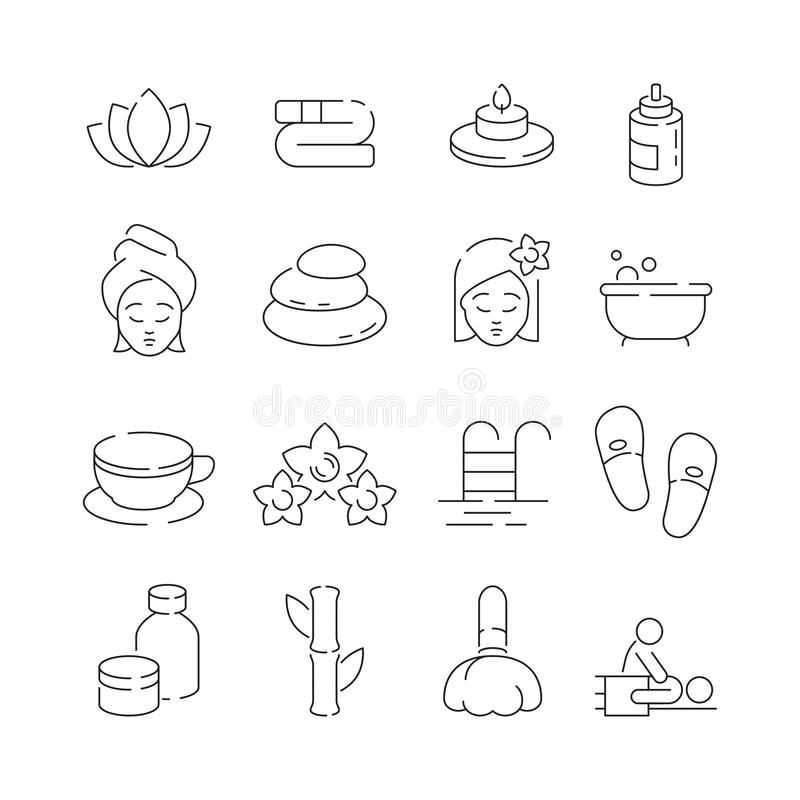 Spa icon set. Wellness therapy massage woman relaxing sauna pool with flowers candles and stones vector thin symbols vector illustration