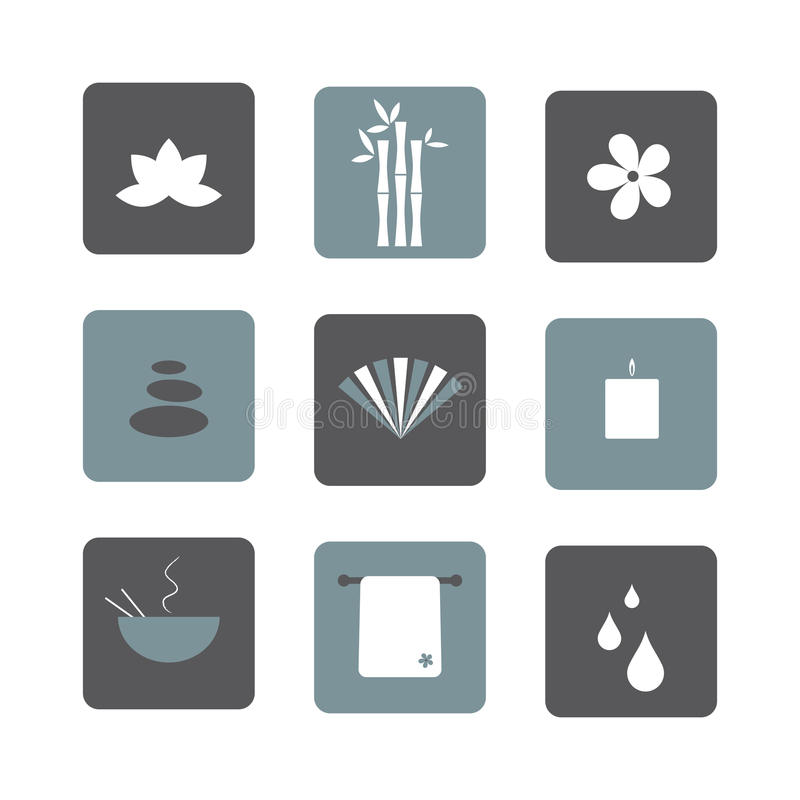 Spa icons. Set of nine square spa icons isolated on white background. EPS file available