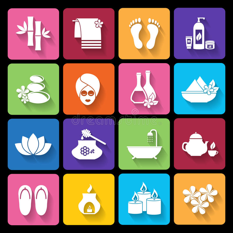 Spa icons in flat style vector illustration