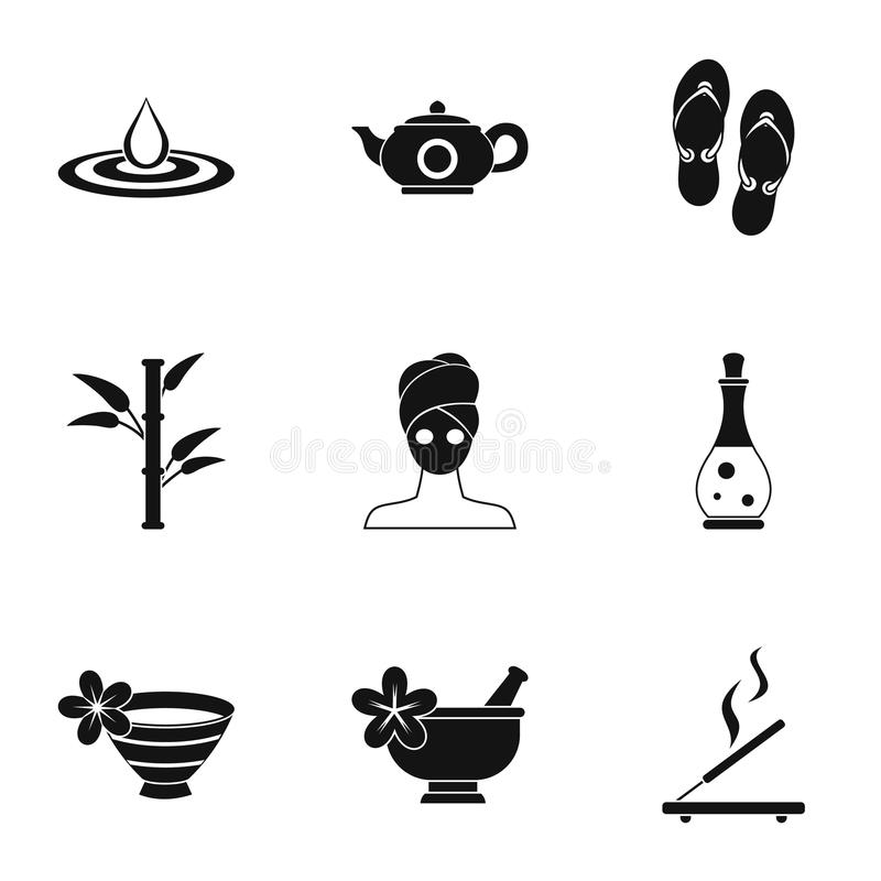 SPA icons set, simple style royalty free illustration