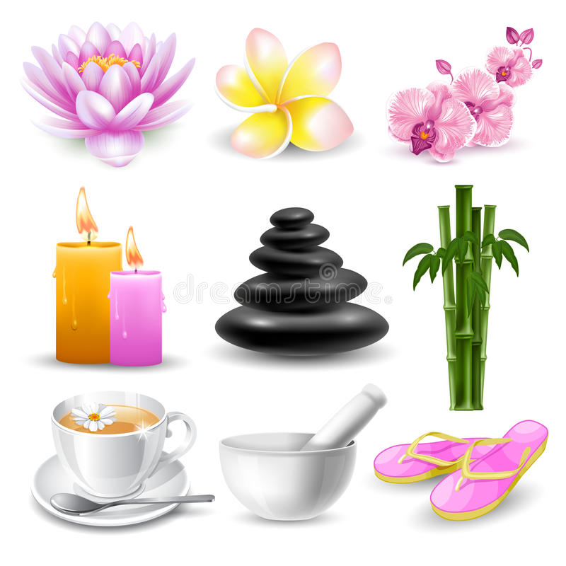 Spa icons set stock vector image 55240641 for Element decoration salon