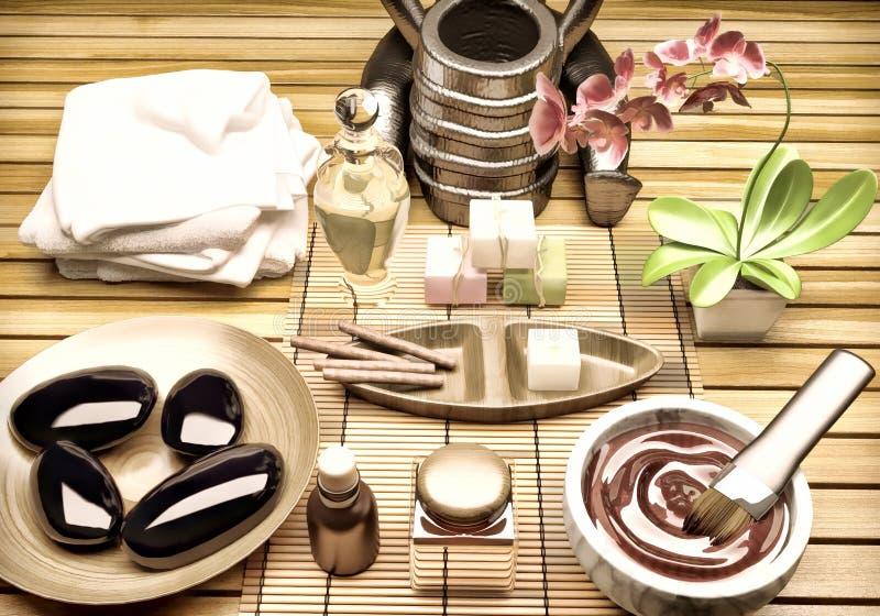 Spa inställning med extraktolja, naturlig tvål, mjuk handduk palpera royaltyfri fotografi
