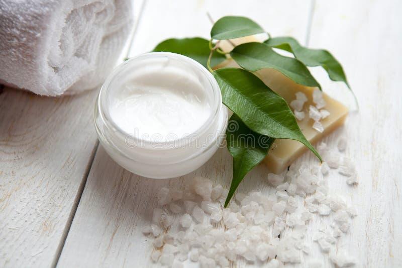 Spa inställning med naturlig olivgrön tvål och salt hav royaltyfri bild