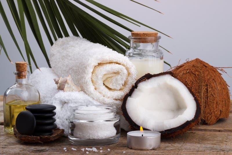 Spa inställnings- och hälsovårdobjekt, kokosnöt, kroppolja, salt för bad, mi royaltyfri foto