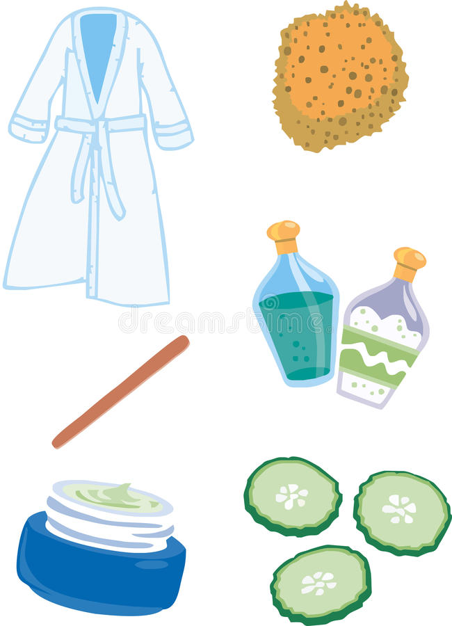 Spa isolated logo. Spa isolated oil lotions nail file royalty free illustration