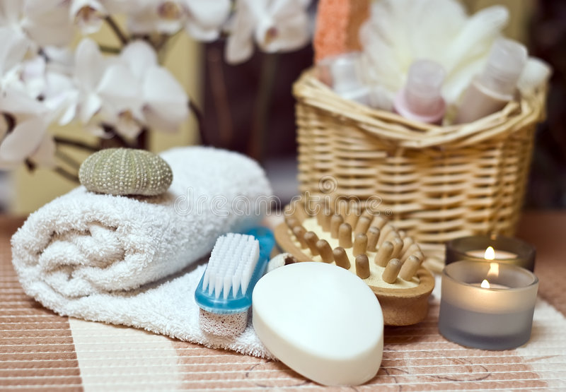 Download Spa items stock image. Image of basket, being, bath, flower - 4025057