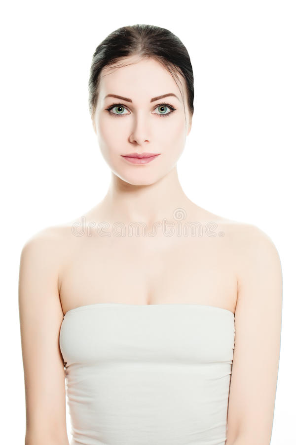 Spa kvinna på vit bakgrund royaltyfri fotografi