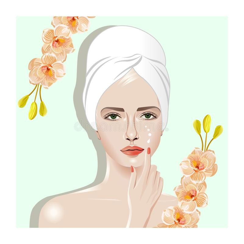 Spa La muchacha mancha la cara poner crema libre illustration