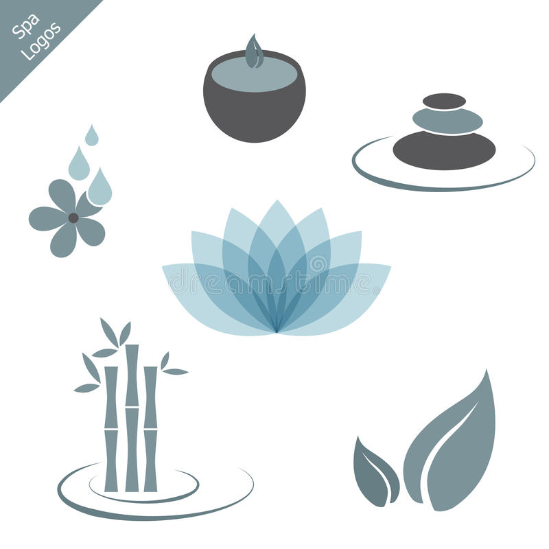 Spa logos. Collection of six spa logos or icons isolated on white background.EPS file available stock illustration