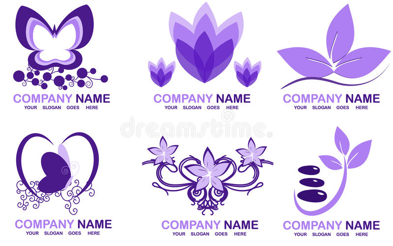 Spa logos. Set with spa logos for your company stock illustration
