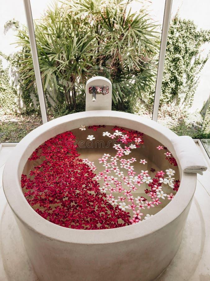 Spa luxury bath. Luxury hotel bath with tropical flowers, spa decoration stock photos