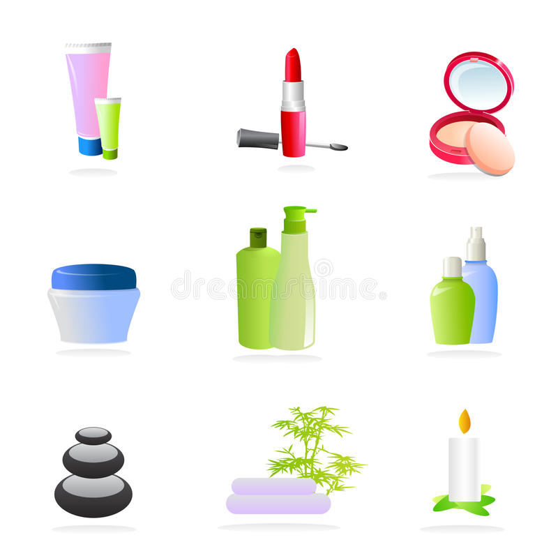 Spa and make up icons. Vector illustrations as icons of some beauty and make up products as soap, skin creams, lipstick, face powder, eyeliner and more as well