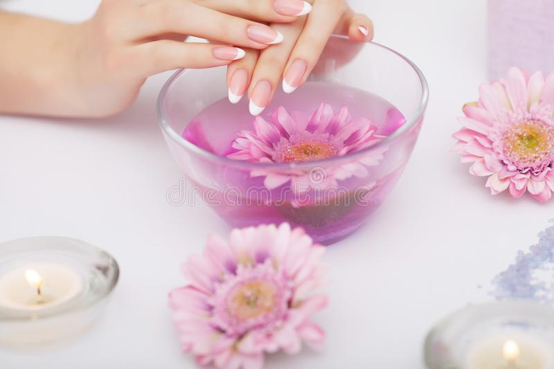 Spa Manicure. Woman Hands With Perfect Natural Healthy Nails Soa ...