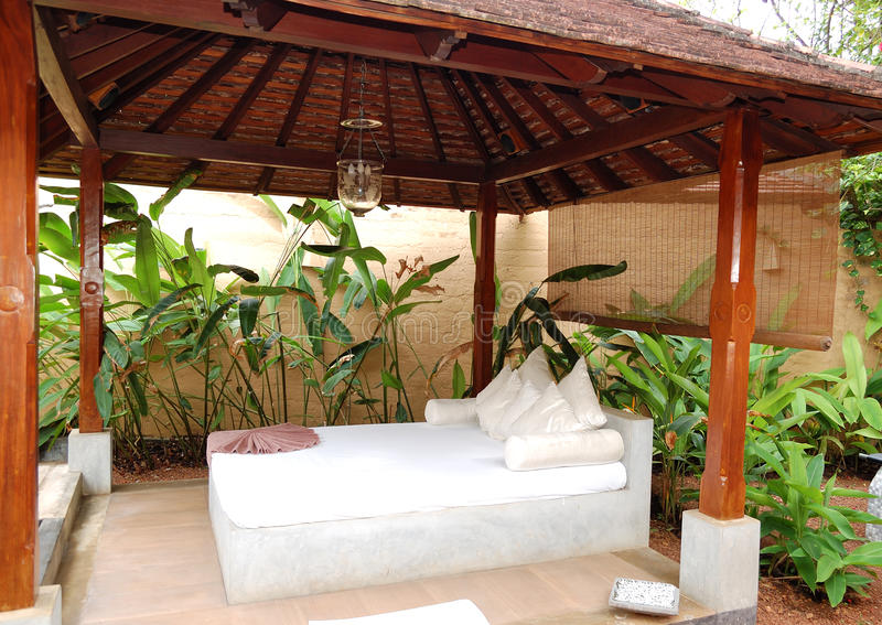 SPA massage bed at luxury hotel. Bentota, Sri Lanka royalty free stock images