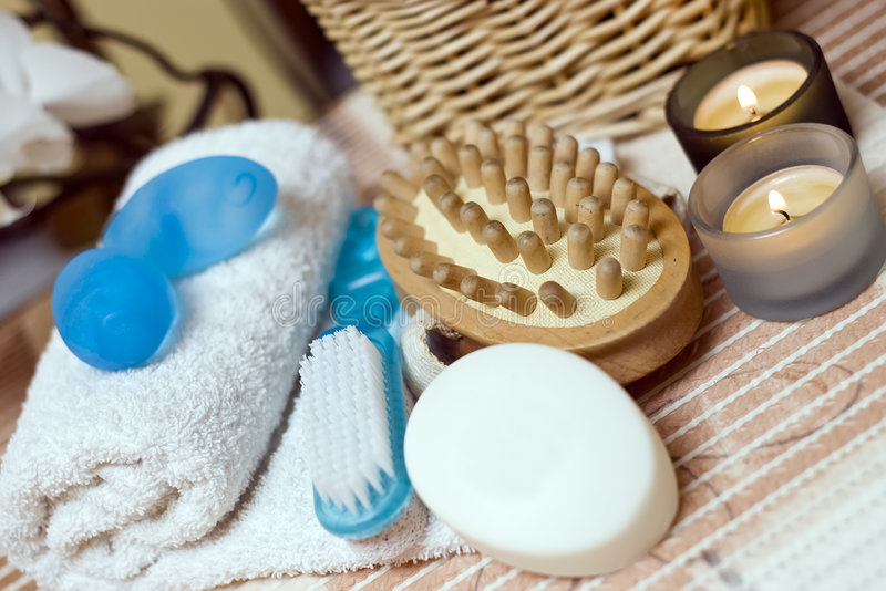 Spa massage brush composition. Some spa items with a massage brush and soap focused royalty free stock images