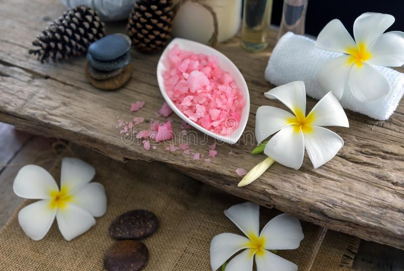 Spa massage compress balls, herbal ball on the wooden with treaments spa , Thailand, soft and select focus. stock photography