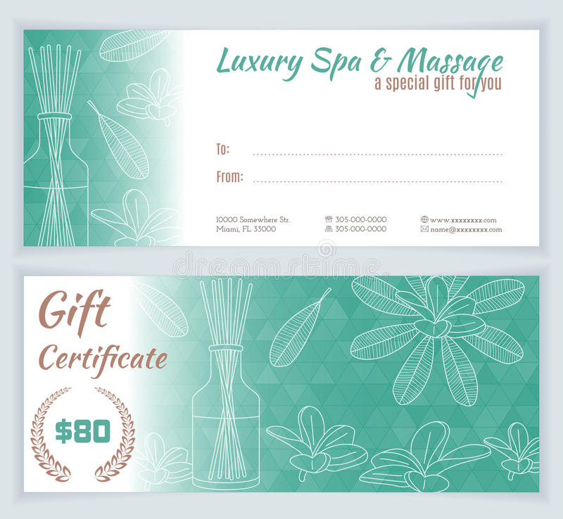 Spa massage gift certificate template stock vector for Massage price list template