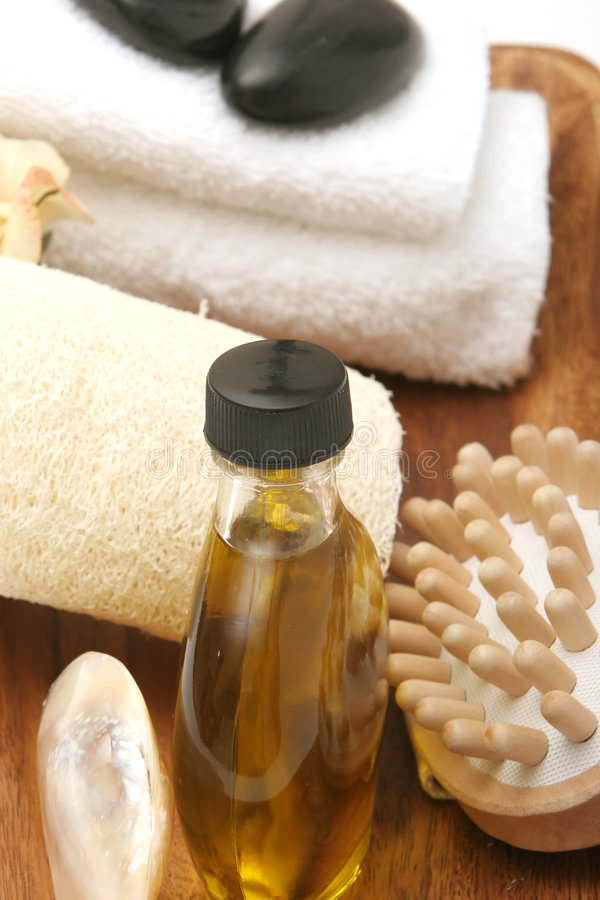 Spa / massage objects. In wooden tray royalty free stock photography