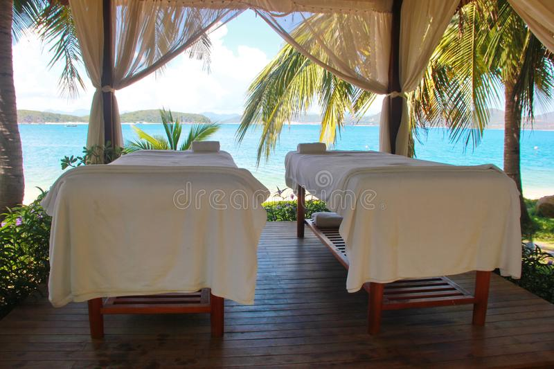 Beautiful view on spa massage room at beachside in bungalow royalty free stock images