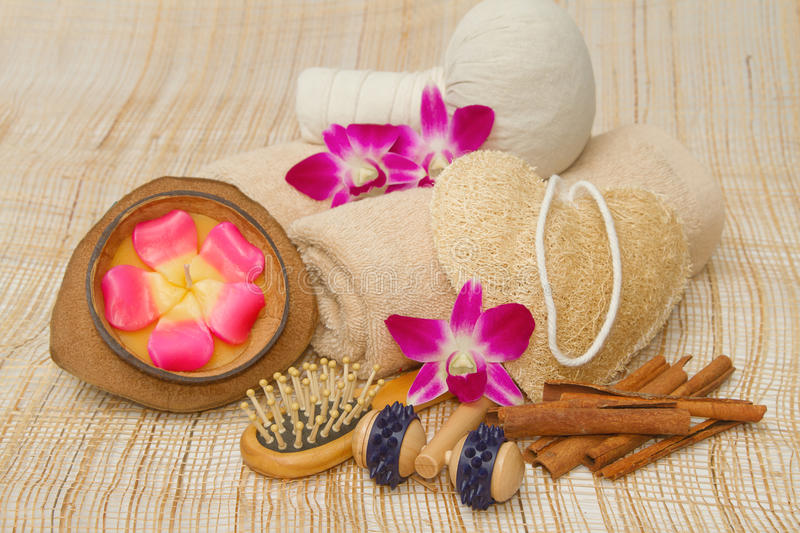 Spa massage setting with compress balls and aroma stock photo
