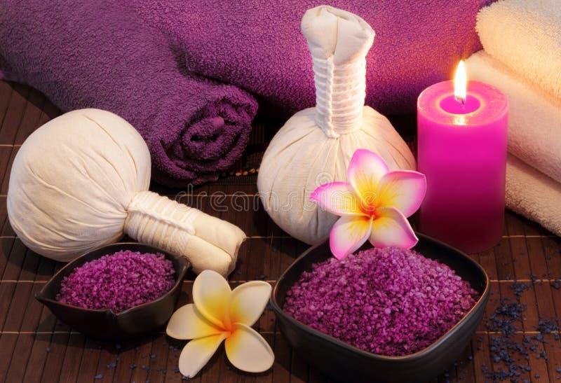 Spa massage setting stock photos