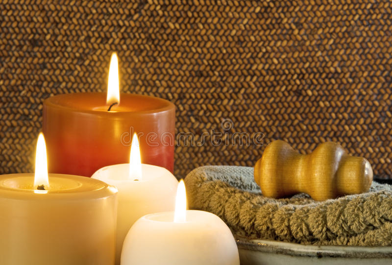 Spa Massage Treatment With Candles. Spa treatment with massage and candles stock photography