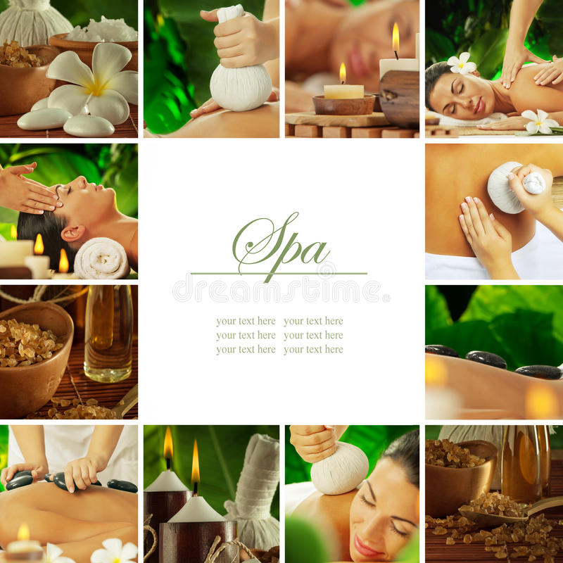 Spa mix. Spa theme photo collage composed of different images stock photo