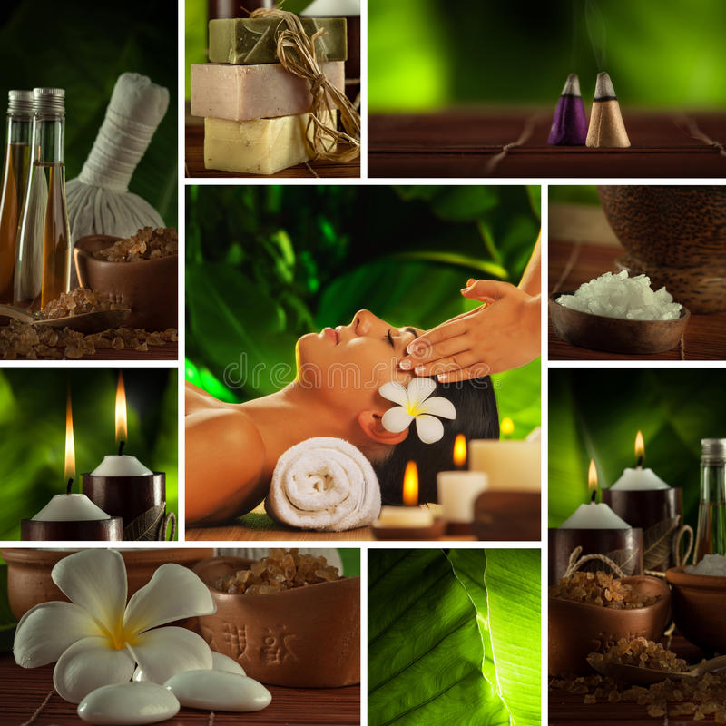 Spa mix. Spa theme photo collage composed of different images stock photos