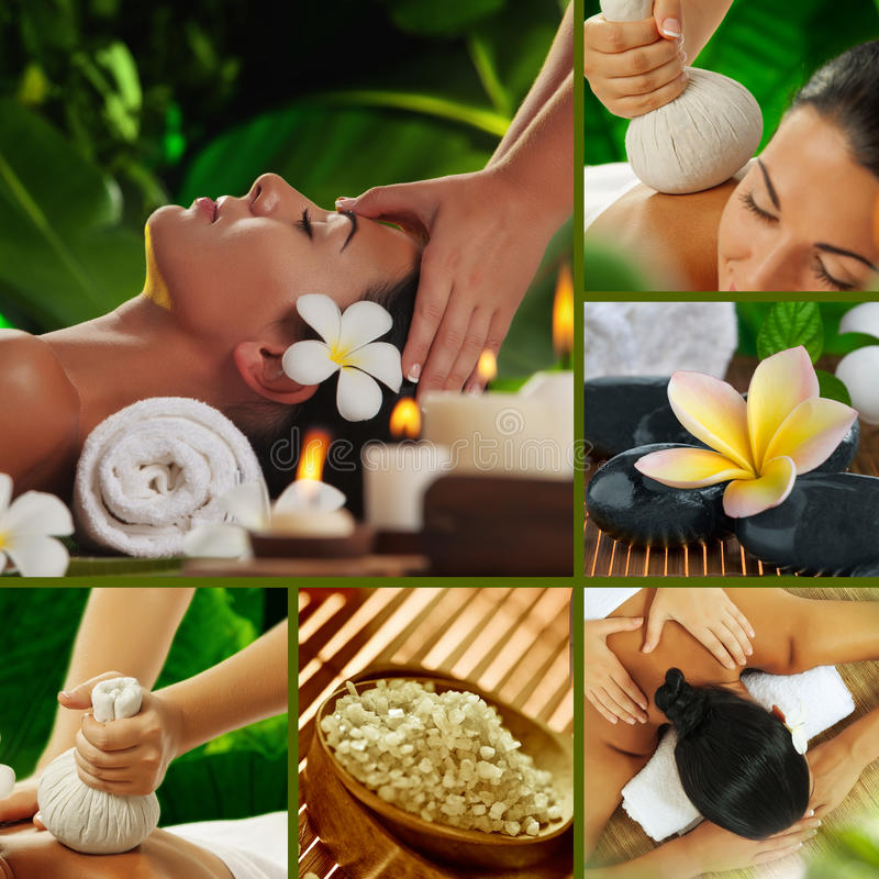 Spa mix. Spa theme photo collage composed of different images royalty free stock images
