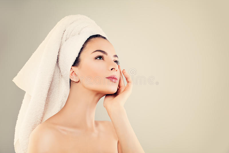 Spa Model Woman With Healthy Skin And White Towel After Bath Stock ...
