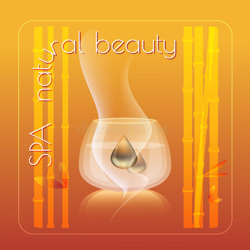 Spa natural beauty theme vector illustration. With bamboo, drops on yellow background stock illustration