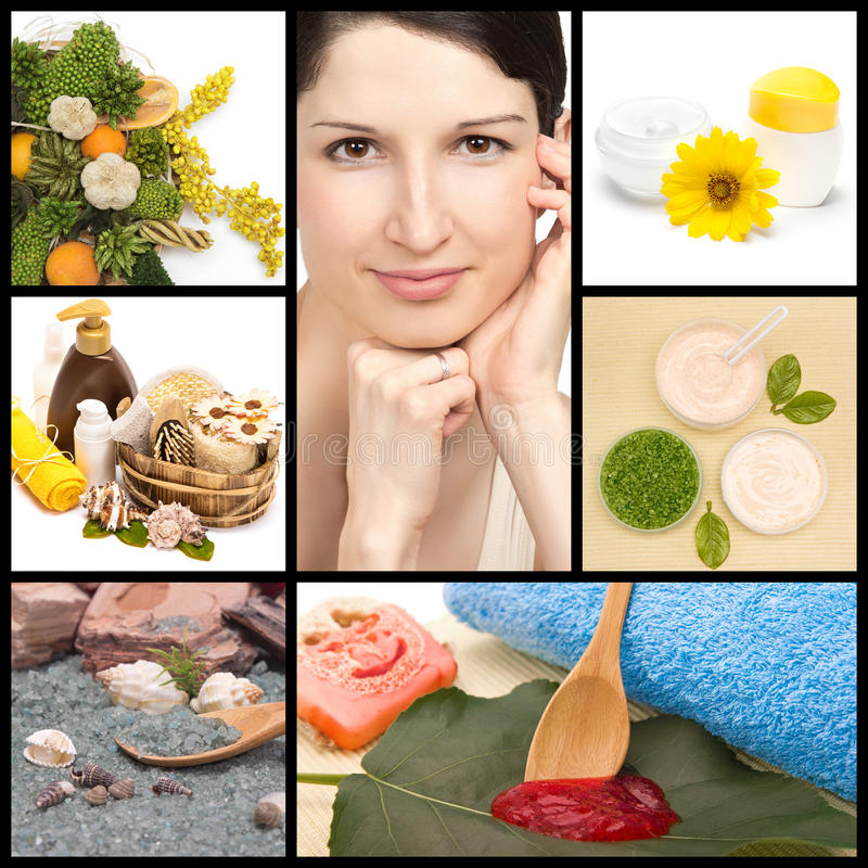 Spa and natural cosmetics collage. Spa and organic cosmetics collage made of seven images. Beautiful woman with perfect skin, herbs, natural body scrub, sea salt stock image