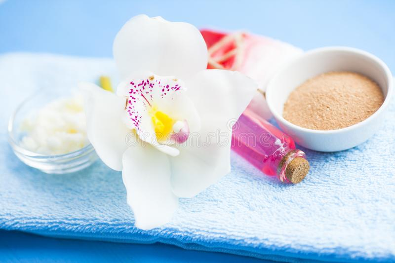 Spa and natural cosmetics concept. Set of skin and body care tools: shea oil, seashells, sponges, soap, clay and seaweed on the bright background. Top view stock photography