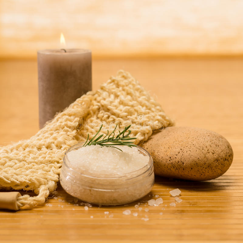 Spa natural products skin scrub and salt. On wooden background royalty free stock images