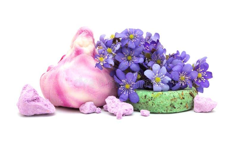 Spa: natural soap, shampoo, foam baths stock image