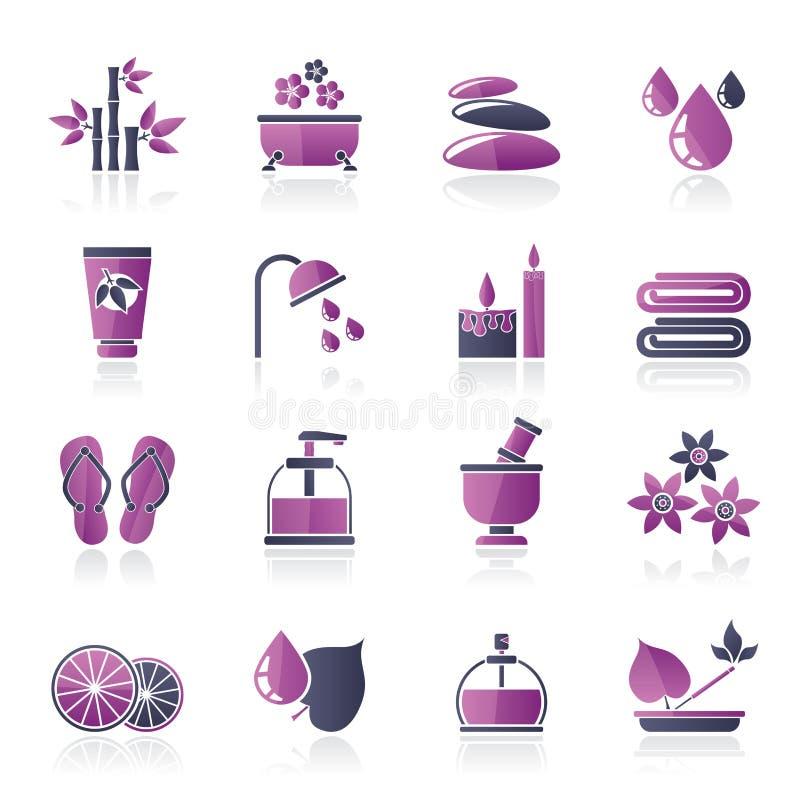 Spa och kopplar av objektsymboler vektor illustrationer
