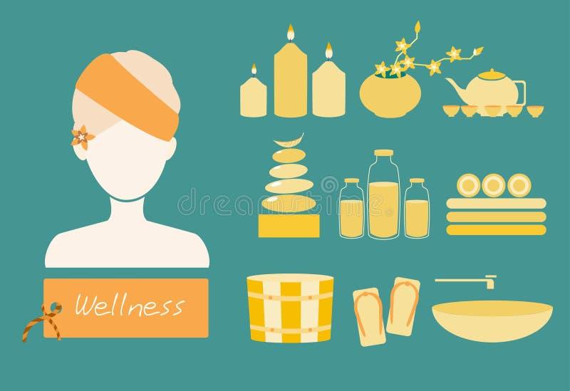 Spa och kroppomsorgsymboler sänker uppsättningen, vektorillustrationer stock illustrationer