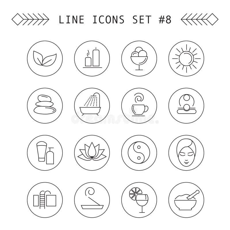 Spa och linjära symboler för fritid vektor illustrationer