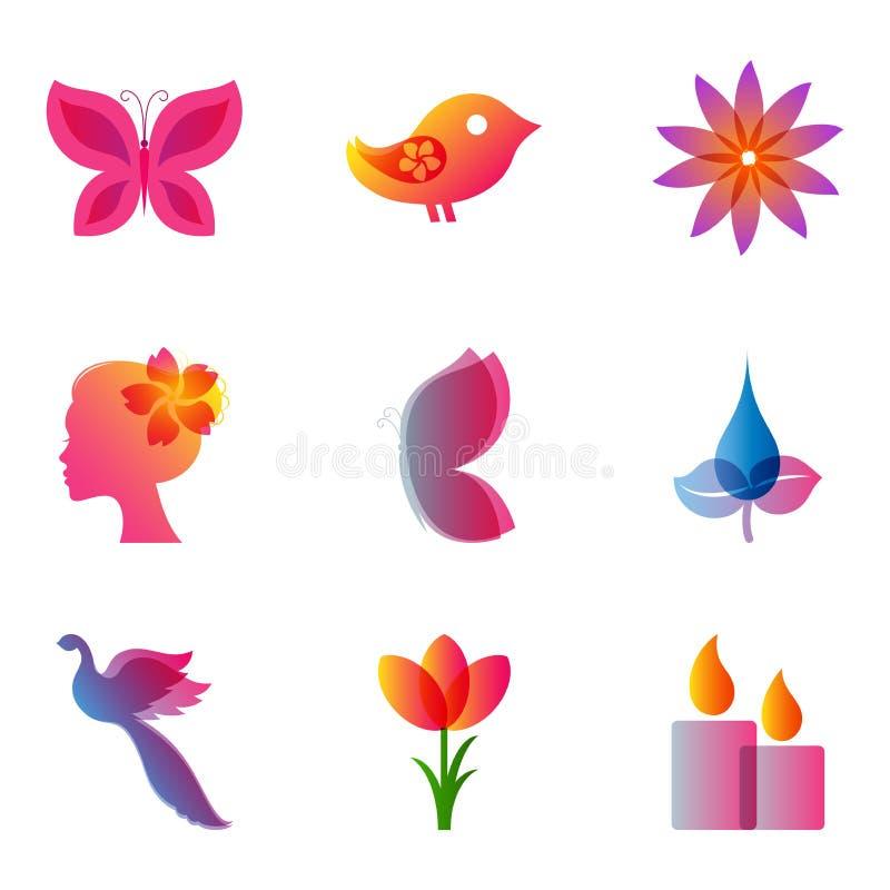 Spa och skönhetsymbolsuppsättning stock illustrationer