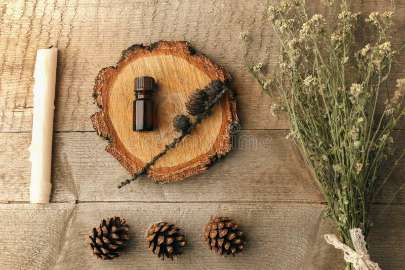 Spa och wellnessinställningen med den aromoljaextrakt, kottar och stearinljuset och torkar växtbuketten på träbakgrund Nedgånghös arkivfoton