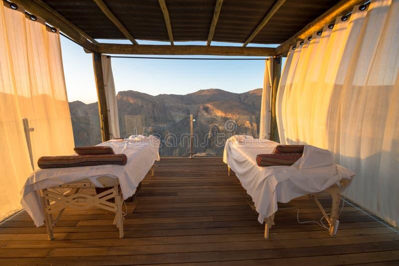 Spa Oman Mountains at Jabal Akhdar in Al Hajar Mountains royalty free stock image