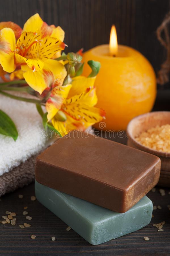 SPA organic products with flowers, bath salt stock image