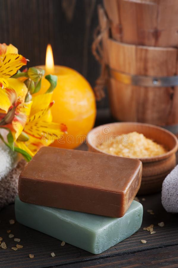 SPA organic products with flowers, bath salt royalty free stock images
