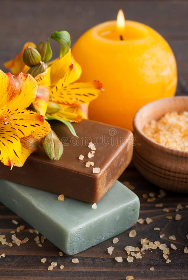 SPA organic products with flowers, bath salt royalty free stock image