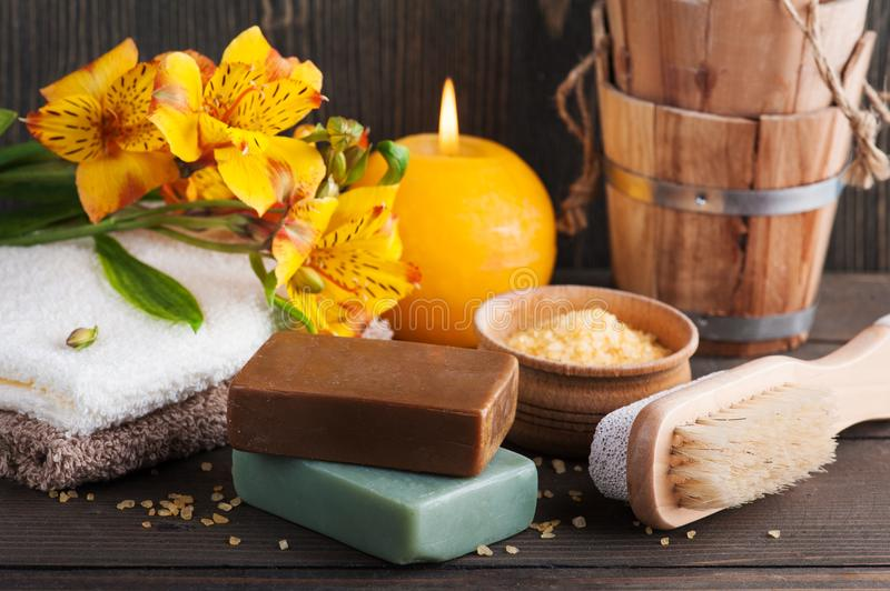 SPA organic products with flowers, bath salt stock images